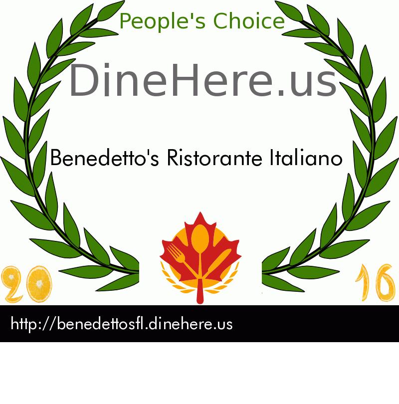 Benedetto's Ristorante Italiano DineHere.us 2016 Award Winner